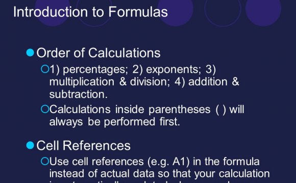 Introduction to Formulas Order