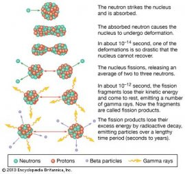 beta particle: fission of uranium nucleus [Credit: Encyclopædia Britannica, Inc.]