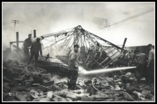 Burning wreckage of the U.S. Army's hydrogen airship Roma; Norfolk, Virginia - February 21, 1922.