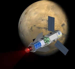 Image of a spacecraft powered by a fusion-driven rocket.