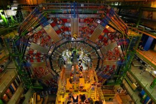 Installation of the CMS beam pipe. Image credit: CERN / CMS Collaboration.