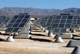 Nellis Solar Power Plant at Nellis Air Force Base in the USA. These panels track the sun in one axis. (USAF)