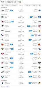 NFL Scores and Schedule