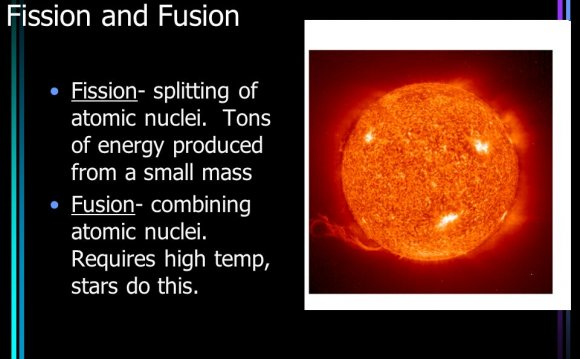 Atomic fission and fusion produce