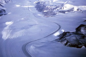 Shackleton Ice Shelf is an extensive ice shelf fronting the coast of East Antarctica for about 384 km (95E to 105E), projecting seaward about 145 km in the western portion and 64 km in the east