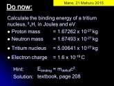 Binding energy of tritium